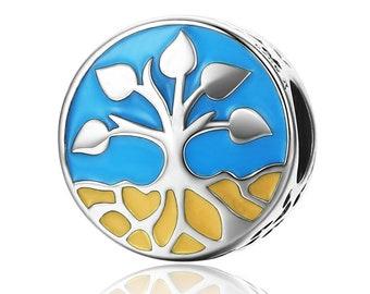 Tree of Life 925 Sterling Silver Bracelet Bead ( Fits Pandora and European Bracelets)