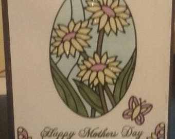 Handmade Mothers day card.  Sparkles.