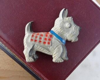 Vintage Scottie Dog Brooch, Large Scottish Terrier Pin, Plastic Brooch