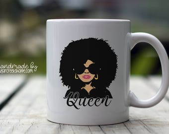Queen   Black Queen Coffee Mug   Afrocentric Coffee Mug   Afro Design   Afro Inspired Coffee Mug Design   Queen Coffee Mug