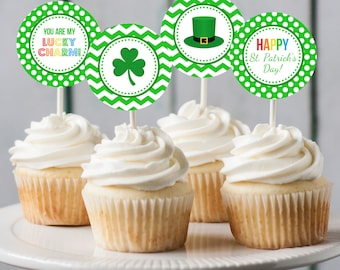 Printable St Patrick's Day cupcake toppers