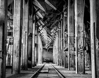 Spouts - Abandoned - Urban Decay - Industrial - Black + White - Fine Art Print - Photograph - Wall Art