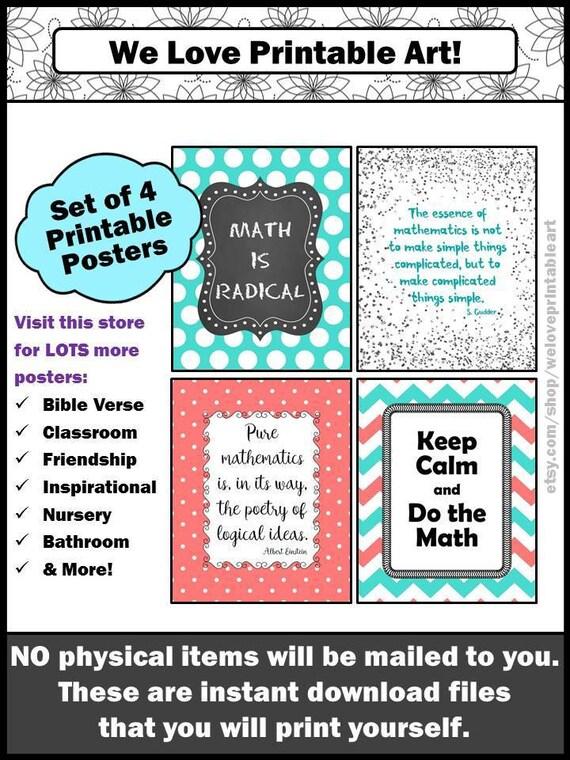 Math Classroom Decor Math Posters Aqua and Coral Math