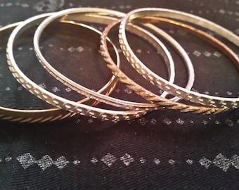 Silver and Gold Bangle Set