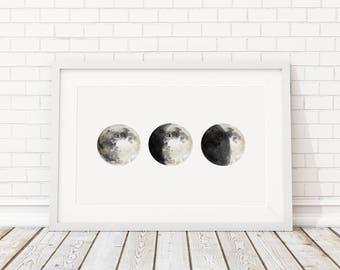 Bedroom Decor-Moon Print-Lunar Phases Print-Moon Poster-Moon phase print-Lunar painting-Moon Phase Wall Art-Outer space nursery- Moon art