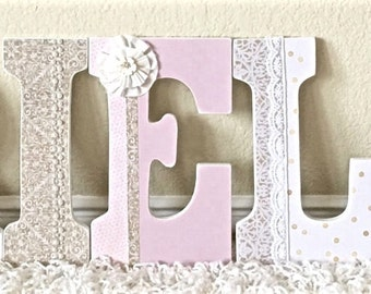 Pink and Gold Nursery Decor, Nursery Letters, Baby Name, Pink and Gold Baby Shower, Wooden Letters, Personalized Baby Gift,