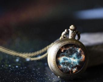 Spiral Planetary Nebula Pocket Watch Necklace - Outer Space Jewelry, Pocketwatch Locket Pendant - Galaxy Jewellery - Science Wedding Gift
