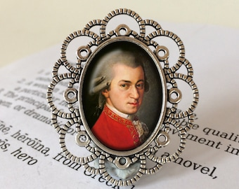 Wolfgang Amadeus Mozart Brooch - Mozart Gift, Mozart Jewelry, Classical Music Gift, Amadeus Brooch, Gift for Music Lover, Mozart Jewellery