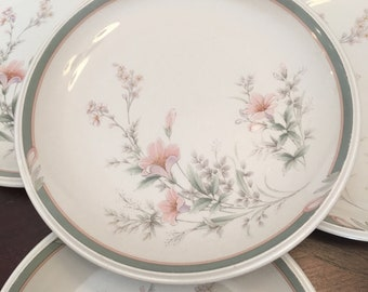 Noritake Keltcraft Misty Isle Collection Deerfield Set of 4 Salad Plates 9159 Ireland Floral Flowers