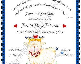 Baby Dedication Gift - Linda Paige Tolis=Christian Lamb Art- Baby Dedication-Personalized Print