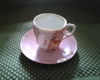 Souvenir lustreware beaded demistasse cup and saucer - Present from Ireland