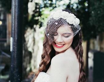Ivory birdcage veil, ivory bridal flower crown, wedding headpiece, crochet flower headband, lace headpiece, vintage veil, rose hairband