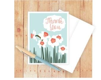 Flower Thank You Card, Blank Card, Daffodils,  Appreciation, Wedding, Bridal Shower, Thanks