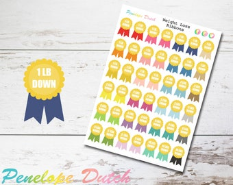 Weight Loss Reward Ribbon | Workout Fitness Planner Stickers