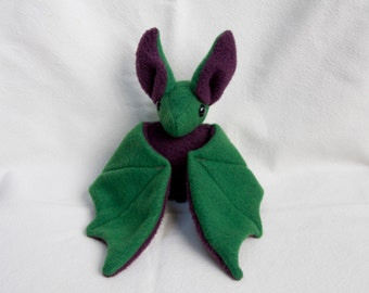 Bat Plushie - Green and Purple