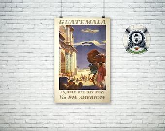 Poster travel Vintage Travel Poster GUATEMALA Via PAN AMERICAN-1938-Art Print poster-Vintage Illustration design