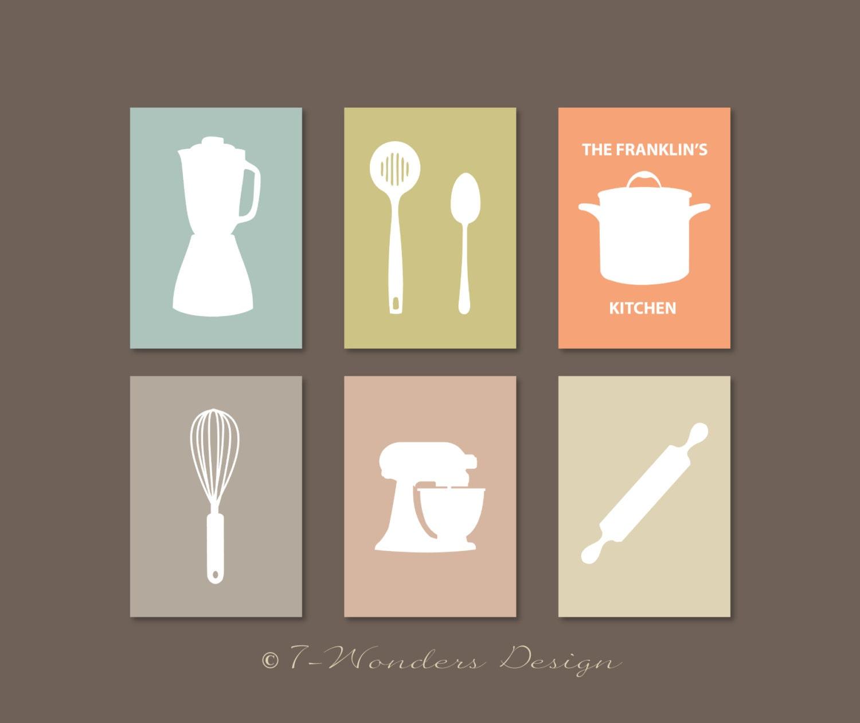 Modern Kitchen Art Set: Modern Kitchen Art Print Set Utensil Appliance Silhouettes