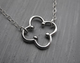 Quatrefoil Necklace Sterling Silver Quatrefoil Jewelry Geometric Necklace Four Leaf Clover Jewelry Silver Quatrefoil Birthday Gift