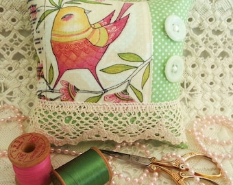 Pincushion with Vintage Buttons and Lace, Lacy Pincushion, Pincushion Pillow, Bird Pincushion, Lace Pincushion, Lacy Pin Keep, Pink Bird