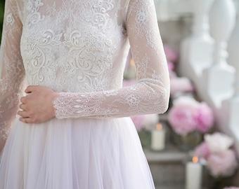 Wedding dress, long sleeve wedding dress, powder wedding dress, lace wedding dress, bridal gown, blush wedding dress, pastel gown - Medea