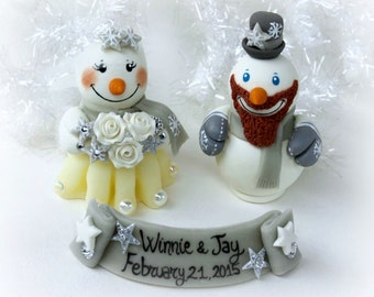 Wedding cake topper snowmen with banner Christmas wedding
