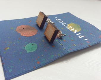 Square Studs, Laser Cut Wooden Earrings