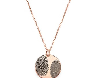 "Two Actual Fingerprints 3/4"" disc Necklace in 18k Rose Gold Plated 925 Sterling Silver, Personalized Fingerprint Jewelry, Christmas Gifts"