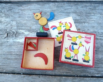 Vintage game from Austria/Schowanek / toy /wood pieces/Construction