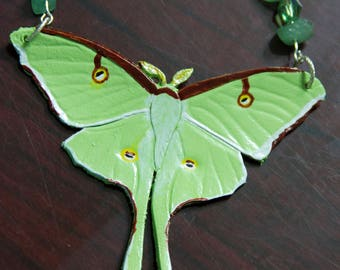 Leather Luna Moth Necklace