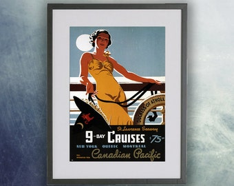 Vintage Travel Poster, Canadian Pacific 9 Day Cruises - Print Unframed