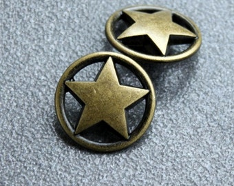 Metal Buttons - Ring Star Metal Buttons , Antique Brass Color , Openwork , Shank , 0.91 inch , 10 pcs