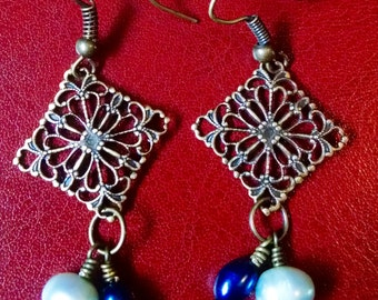 Antiqued brass and pearl earrings