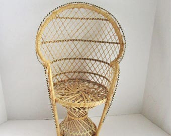 Vintage Wicker Doll Chair Fan Back Peacock Rattan Doll Chair Two Available