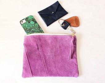 Repurposed Suede pochette tous les jours de 8 pouces / Amethyst violet