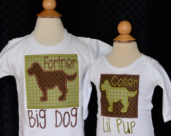 Personalized Big Little Brother Dog Big Little Sister Pup Initial Applique Shirt or Bodysuit Girl or Boy