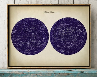 Fixed STARS Chart Print, Stars Chart, Star Print, Star Map, Astronomy Room Decor, Astronomy Poster, Celestial Wall Art, Dorm Wall