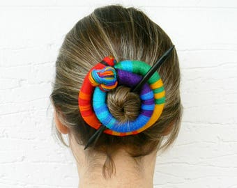 Ethnic bun holder, Stick Slide Fascinator, Rainbow jewelry, Shawl brooch, Large hair barrette, Colorful Thick hair clip, Ponytail holder