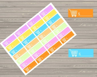 Grocery Spending Stickers, Fits Erin Condren Planner, Stickers, Shopping Tracker Stickers, Spending Stickers, Budget Stickers,
