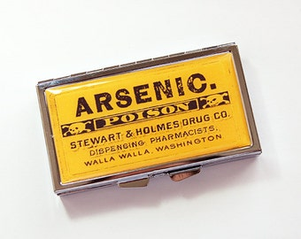 Pill case, 7 day pill box, Pill Container, 7 sections, 7 day, Pill Box, arsenic, poison, yellow, arsenic pill case, Kellys Magnets (4188)