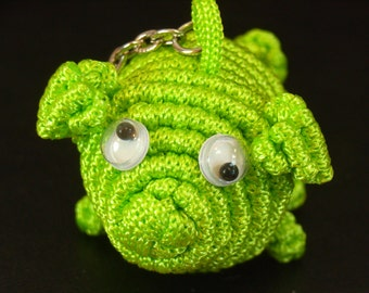 CUTE - Chinese Knot Green Pig Keychain or Backpack Hanging