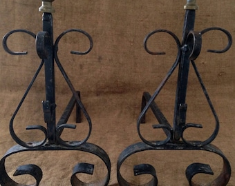 Antique andirons for fireplace wrought iron with brass ball. 1900s