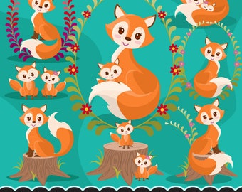 Baby Woodland Fox clipart. Baby fox graphics with cute floral tree. Mother's Day, planner stickers, PNG commercial use, cute animals, floral