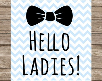 Hello Ladies SVG Cute Baby Onesie Bow Tie Marriage Groom PNG DXFCut File for Cricut SVG Silhouette