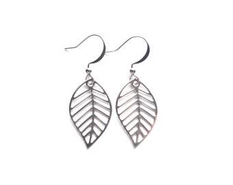 Leaf Earrings, Silver Earrings, Dangle Earrings, Metal Earrings, Tiny Earrings, Modern Earrings, Minimalist Earrings, Gift For Her