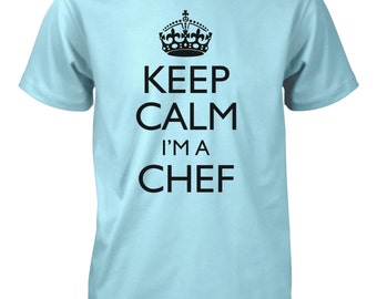 Men's Keep Calm I'm a Chef Funny T-Shirt Cook Food BBQ Restaurant Tee