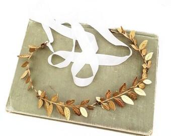 Leaf Wreath Gold Headband Gold Leaf Branch Tiara Bridal Headpiece Rustic Wedding Garden Forest Bride Boho Woodland Grecian Gold Fern Fairy