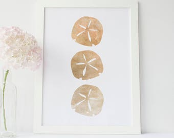 Sand Dollar Art, Beach Wall Art, Coastal Print, Neutral Beach Art, Printable Decor, Digital Art Print, Coastal Wall Art, Coastal Nursery Art