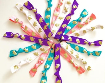 Unicorn hair ties, party favors hair elastics unicorn party gold unicorn pony tail holders unicorn hair dont care