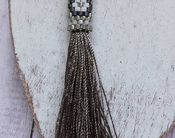 Native American Silver Beaded Tassel Pendant Jewelry Supplies