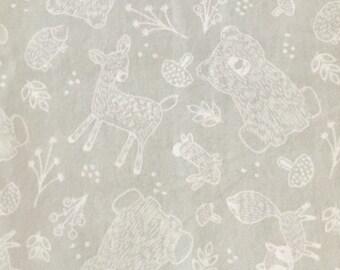 Layette Set-Blanket-Bear-Deer-Fox-Rabbit-White-Gray-Minky-Baby Blanket-Burp Cloths-Baby Blanket